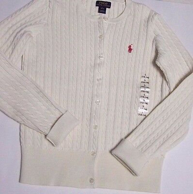 Nwt Polo Ralph Lauren Girls Cable Knit Long Sleeve Button Down Sweater L(12-14)
