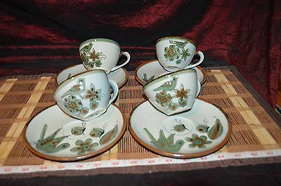 Set of 4 Ken Edwards El Palomar Green Cup and Saucer Mexico Golden Brown Trim