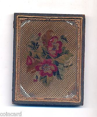Vintage Embroidery with glass bead accents, framed