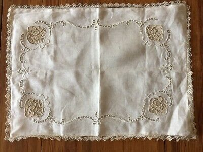 "Antique Vintage Mixed Net Lace Linen Boudior Pillow Cover Case  15.5"" x 11.75"""