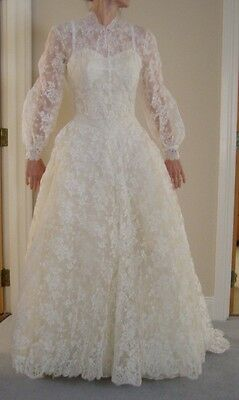Vintage French Lace Wedding Dress in Harrods Trousseau Room Box