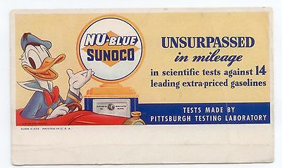Vintage Sunoco Donald Duck Disney Ink Blotter