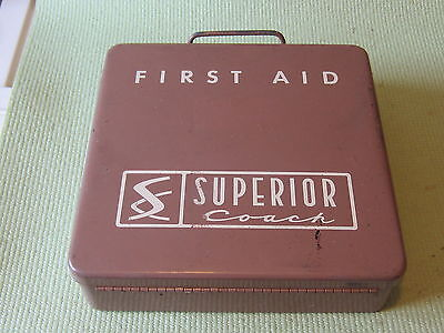 Vintage  Superior Coach Metal First Aid Kit with Supplies Automotive