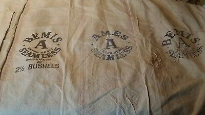 FEED SEED BAG BEMIS A AMES A SEAMLESS Extra Heavy cotton canvas grain SACK