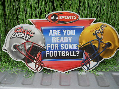2000 Coors Light Beer ABC Sports Are U Ready For Some Football Tin Sign Man Cave