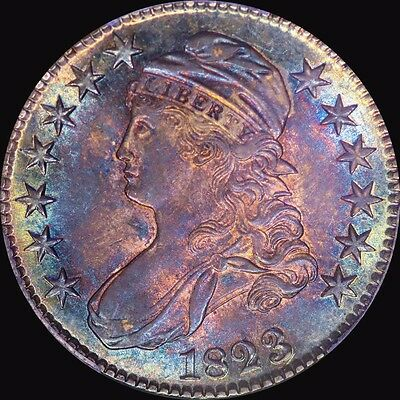 1823 Capped Bust Half Dollar Pcgs Ms 62 Cac Toned