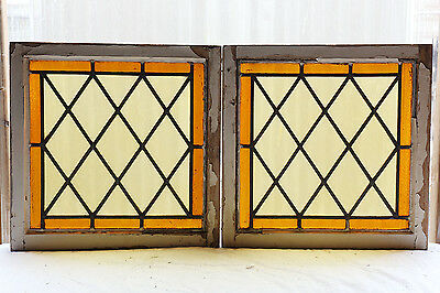 Pair of Antique Stained Glass Windows Classic Style Cheery & Bright (3042)