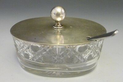 Antique silver plate & cut glass large mustard pot or preserve, condiment dish