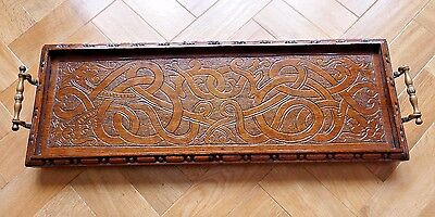 Arts & Crafts or art nouveau carved dark oak wood brass handled 'Celtic' tray