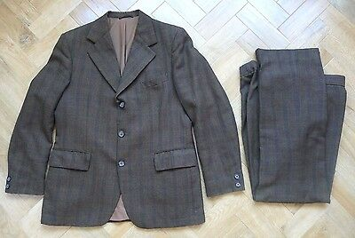 Vintage retro brown check wool worsted tweed suit, 40 chest x w36 x l30