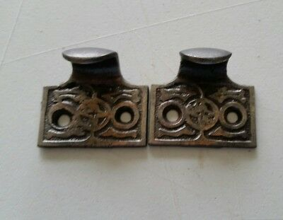 Pair Vintage Antique Victorian Cast Iron Sash Lift Window Lift (#516)
