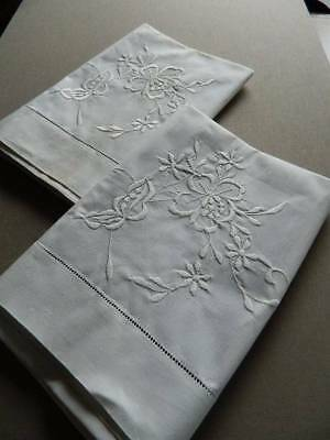 Pair vintage UNUSED white cotton pillowcases - whitework embroidery & ladderwork