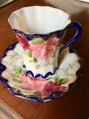 Vintage hand painted tea cup & saucer (Made in Japan)