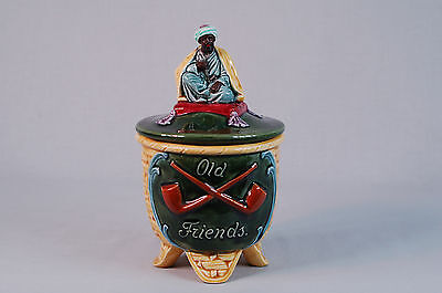 Majolica Tobacco Jar Made in Czechoslovakia with Figure & Pipes