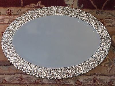 Sterling Silver .950 Peruvian Ornate Oval Centerpiece Mirror Tray