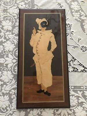 MARQUETRY WOOD WALL PLAQUE Harlequin / Clown Wood Inlay Lovely