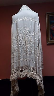 Vintage Canton Ivory Silk Floral Hand Embroidery Piano Shawl Wedding Stunning