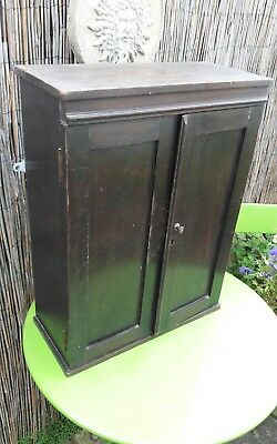 Antique Victorian Wooden Wall Cupboard Working Lock And Key
