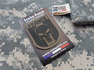 "SNAKE PATCH "" FRANCE PUNISHER "" OD BV KAKI OPEX airsoft ARMEE commando SCRATCH"