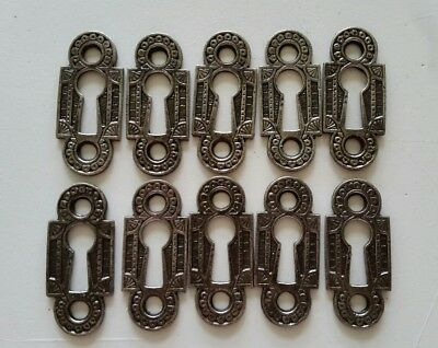 10 Matching Restored Decorative Vintage Victorian Key Hole Covers Cast Iron (B)