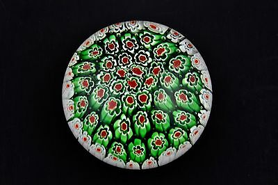 Beautiful Murano Art Glass Millefiori Paperweight Multi Colors Flowers - Mint