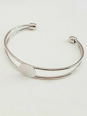 Bracelet Bangle Finding Blanks Glue On Flat Pad 15mm Silver Paled Cabochon Gems