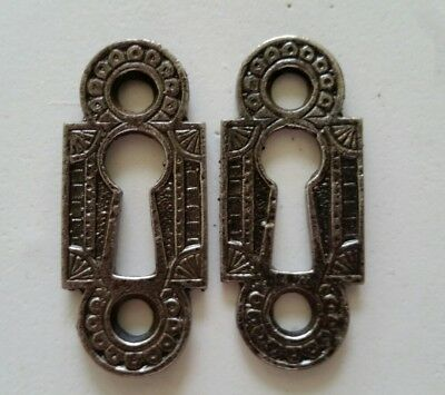 Pair Restored Decorative Vintage Victorian Key Hole Covers Cast Iron (F)