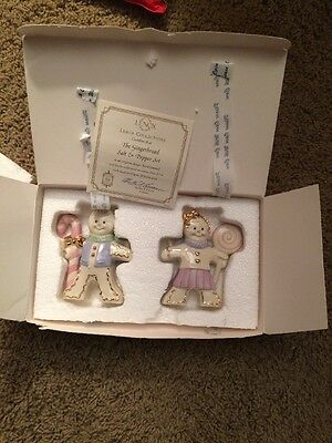 MINT Lenox Classics Gingerbread Boy & Girl Salt & Pepper Shakers Set COA/MIB