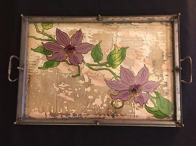 Antique Reverse Painted Glass With Metal Frame Serving Tea Cocktail Tray