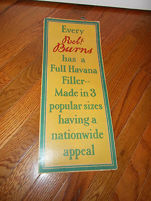 Vintage Rob Burns Tobacco Advertising Sign-Full Havana Filler-Yellow,green,red