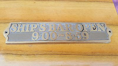 Antique Vintage Brass Sign Plaque Ships Bar Open Nautical Marine