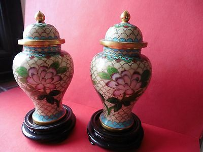 Vintage Pair Chinese Cloisonne Enamel Vases On Lacquered Stands