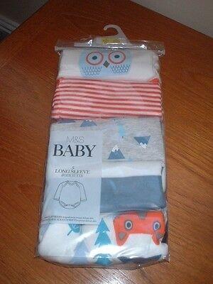 Bnwt M & S Baby Boy/girl 5 Pk Long Sleeved Vests/bodysuits 0 - 1  Mths  Rrp £13