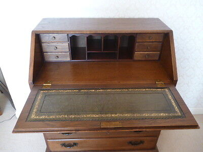 Old Charm Like Solid Oak Bureau/Writing Desk with Leather Inlay and Gold Leaf