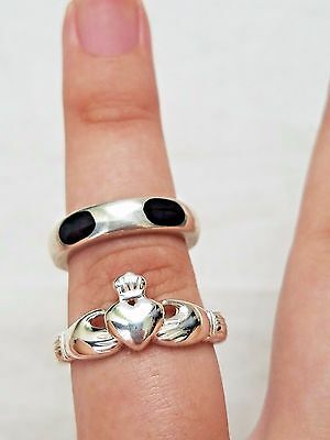 Lot of Vintage Sterling Silver Rings, Irish Claddagh, Stone Band, Estate Jewelry
