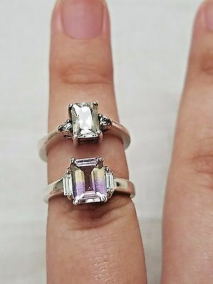 Lot of Vintage Sterling Silver Rings, Solitaire, Mystic Topaz, Estate Jewelry