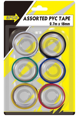 NEW 6 Pack PVC Insulation Tape Assorted Colour Flame Retardant Electrical UK