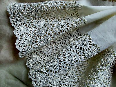 Antique Victorian Fine Cotton Muslin Broderie Eyelet Scalloped Lace Trim Pc