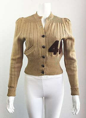 VINTAGE LADIES 1940's LETTERMAN CARDIGAN SWEATER size SMALL