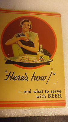 "RARE HAMM's COOKING PAPER BOOKLET  ""WHAT to SERVE with HAMM's BEER 1934  7""x5'"