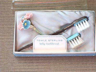 Vintage Antique Towle Sterling Silver Baby Toothbrush Set in Original Box
