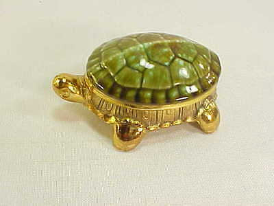 Fabulous Vintage Gold & Green Ceramic & Metal Turtle Trinket Box