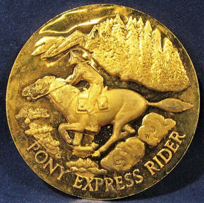 """Longines Wittnauer 24K Gold Plated .925 Silver """"Pony Express Rider"""" Medal AD363"""