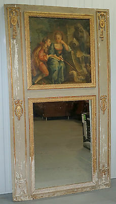 Rare French Louis Xvi Period Trumeau Mirror Circa 1760 Romantic Oil Painting