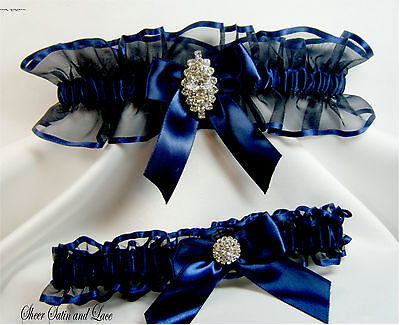 Navy Blue Wedding Garter Set Rhinestone Garters