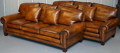 Rrp £33,000 Pair Of New Chestnut Leather Ralph Lauren Jamaica Four Seater Sofas