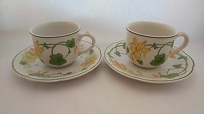 Pair of Villeroy & Boch Geranium Smooth Border Cup & Saucer Sets