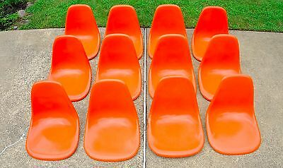 Lot of 12 EAMES Shells HERMAN MILLER - SATURATED Orange - Late 60's Production