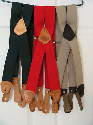 Duluth Trading Co. Men's Suspenders Braces Lot Of 3 With Leather Button Fittings