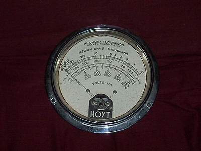 "Awesome Vintage OHMS - VOLT METER - 8.5"" Diameter - Working - Steampunk Art"
